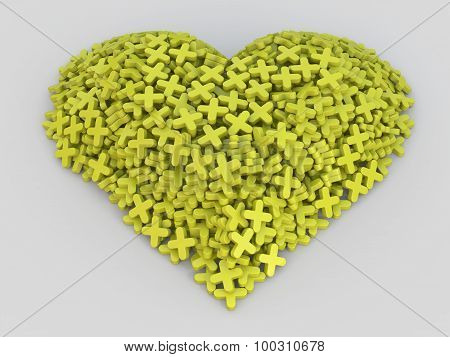Consisting of plus heart,yellow plus heart