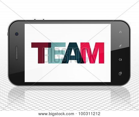 Business concept: Smartphone with Team on  display