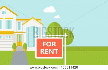 A house with for sale placard.  Vector flat design illustration. Horizontal layout with text space in right side.