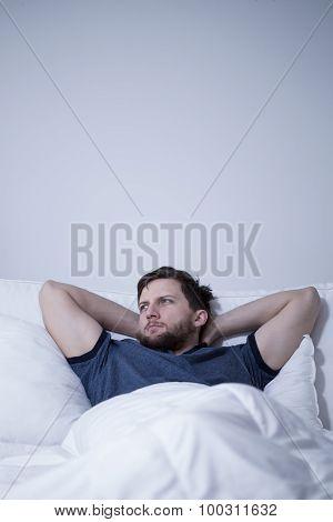 Man Having Difficulty Falling Asleep