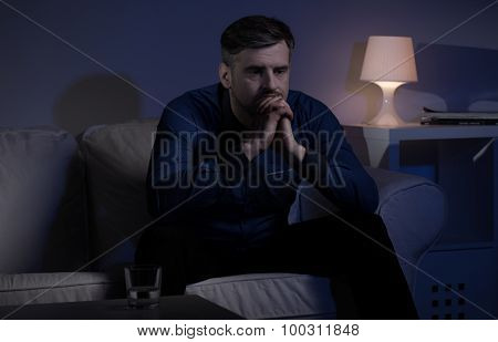 Miserable Man Unable To Sleep