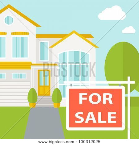 A house with for sale placard. Vector flat design illustration. Square layout.