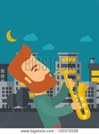 A caucasian saxophonist playing in the streets at night with moon and clouds. Vector flat design illustration. Vertical layout with text space on top part.