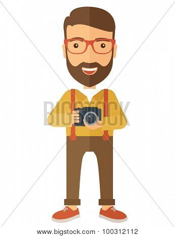 A Caucasian photographer smiling while holding his camera. A Contemporary style. Vector flat design illustration isolated white background. Vertical layout