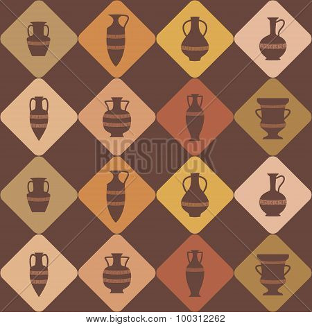 Seamless background with antique amphoras
