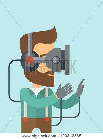 A caucasian wearing a virtual relaity headset. A Contemporary style with pastel palette, soft blue tinted background. Vector flat design illustration. Vertical layout with text space on top part.
