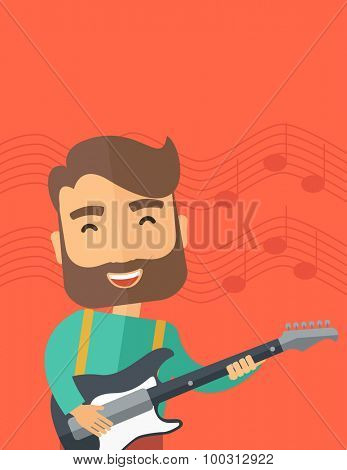 A singing musician playing electric guitar. Vector flat design illustrations. Vertical layout with text space on top part.