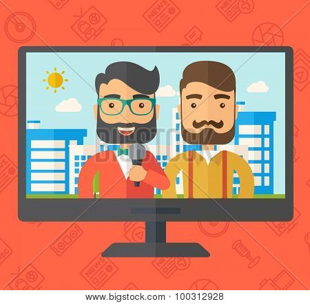 Breaking news in a televesion. Vector flat design illustration. Square layout.