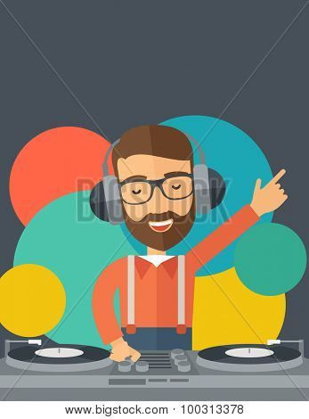 A caucasian disc jockey with headphone mixing music inside the studion room. A contemporary style with pastel palette black tinted and colorful round background. Vector flat design illustration