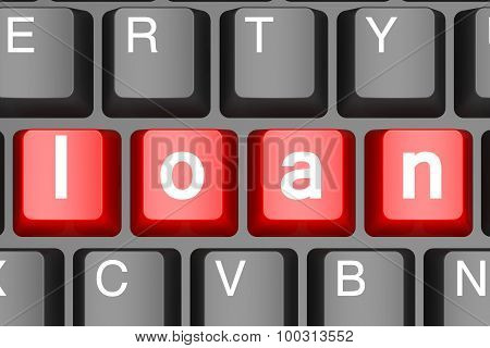 Red Loan Button On Modern Computer Keyboard