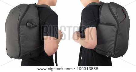 Young Man Standing With Travel Backpack Equipment Isolated White Background.