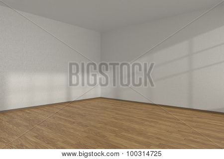 White Empty Room Corner With Parquet Floor
