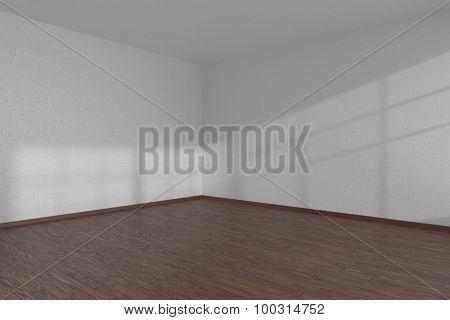 White Empty Room Corner With Dark Parquet Floor