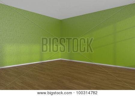 Green Empty Room Corner With Parquet Floor