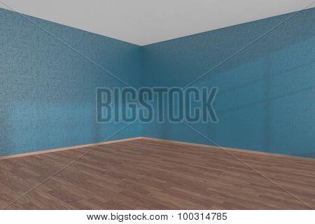 Blue Empty Room Corner With Parquet Floor