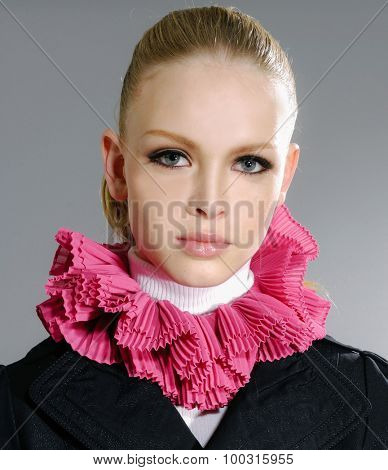 portrait of fashion model-gray background