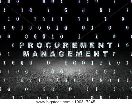 Business concept: Procurement Management in grunge dark room