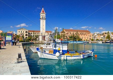 ZAKINTHOS, GREECE - AUG 22, 2015: Marina with boats on the bay of of Zante town on Zakynthos island, Greece. Zakynthos city called Zante town is a capital and biggest city of this small greek island.