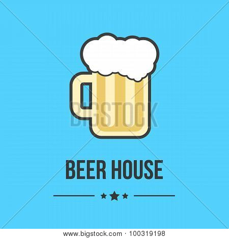 glass of beer isolated on blue background