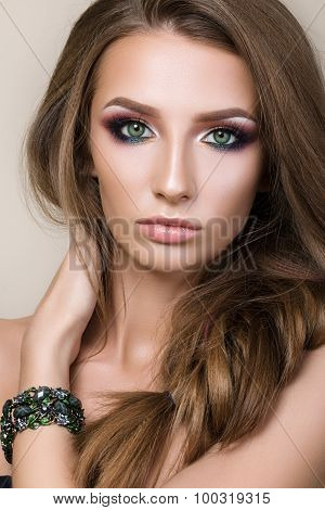 Beauty Portrait Of Young Pretty Girl With Green Eyes