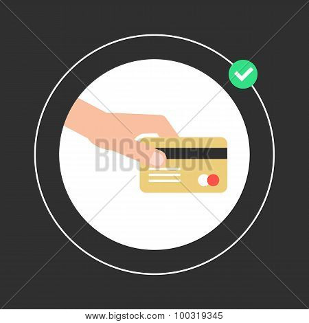 hand holding golden credit card in white circle