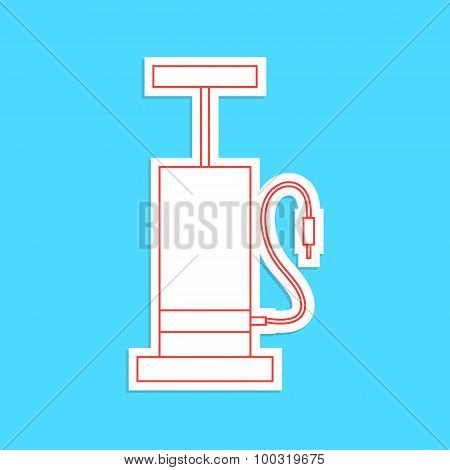 white and red bicycle pump sticker