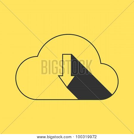 black outline cloud download on yellow background