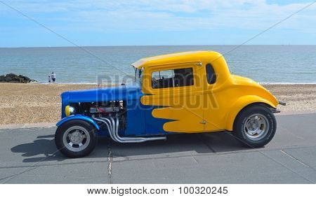 Classic Blue and Yellow Hotrod
