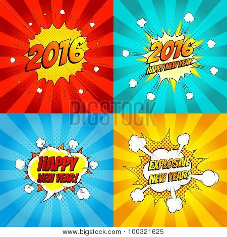 Set Of Pop Art Comic Happy New Year Vector Illustration