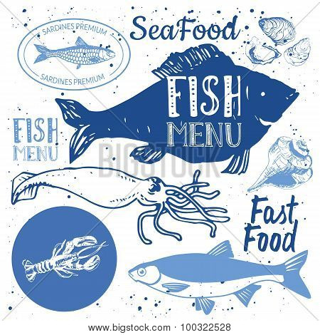 Vector illustration on white background with sketch seafood.