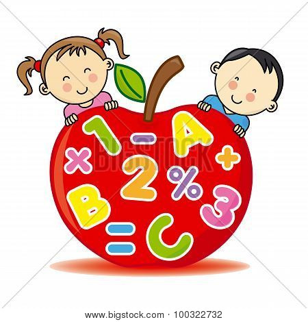 Children with an apple