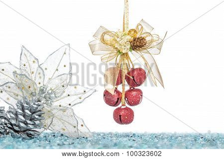 Luxury Red Jingle Bells, Flower And Pine Cone With Snow