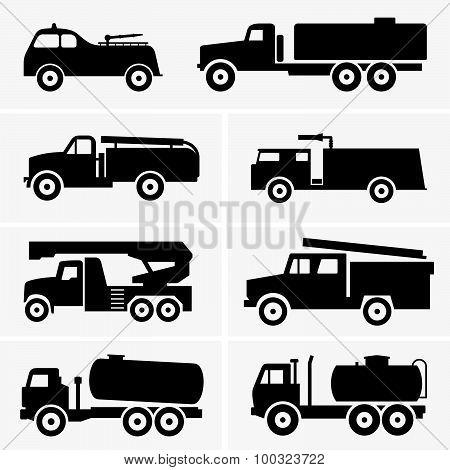 Fire and tank trucks
