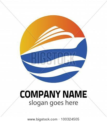 Logo sign yacht and boat vector