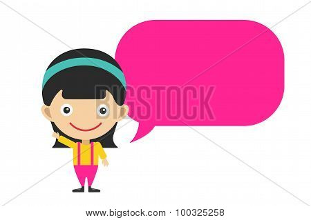 Vector cute cartoon girl