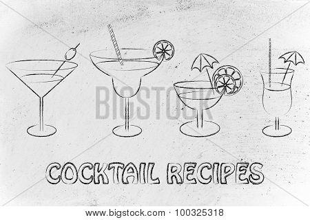 Cocktail Recipes: Set Of Drink Glasses
