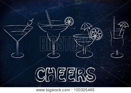 Cheers: Cocktails And Drink Glasses