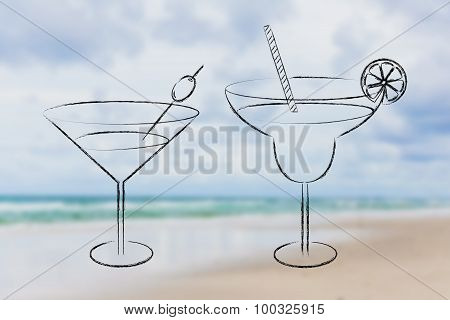 Hand Drawn Cocktails And Drink Glasses Sketch