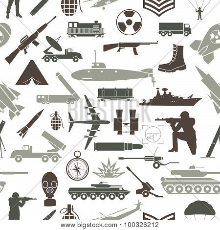 Military background. Seamless pattern. Military elements, armored vehicles