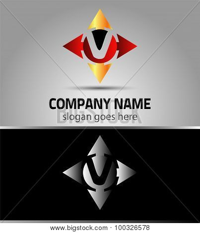 Abstract arrow icons based on the letter V logo