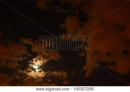The Sky Over The City In A Full Moon At The End Of Summer