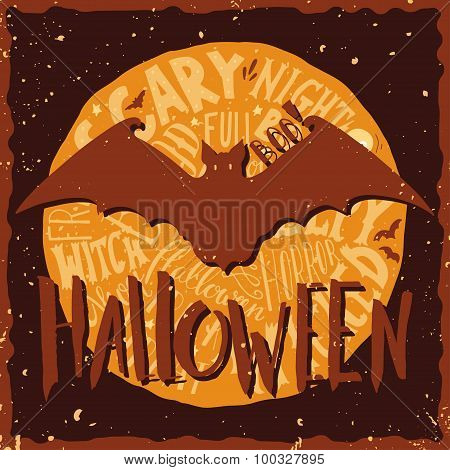 Happy Halloween Grunge Emblem With A Bat Silhouette And Hand Lettering On Full Moon In Back.