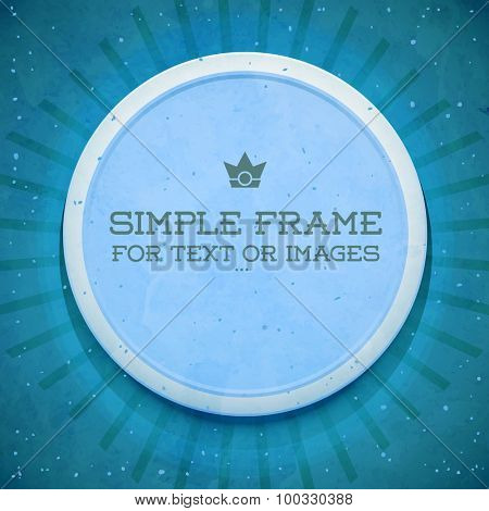 Retro style template. Round empty frame. Sticker on wall