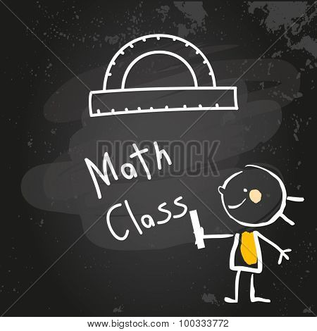 First grade math class education, hand drawn on blackboard with chalk. Hand drawing and writing doodle style, sketchy illustration.