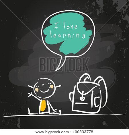School girl with bag, chalk on blackboard vector illustration. doodle style sketch, hand drawn illustration.