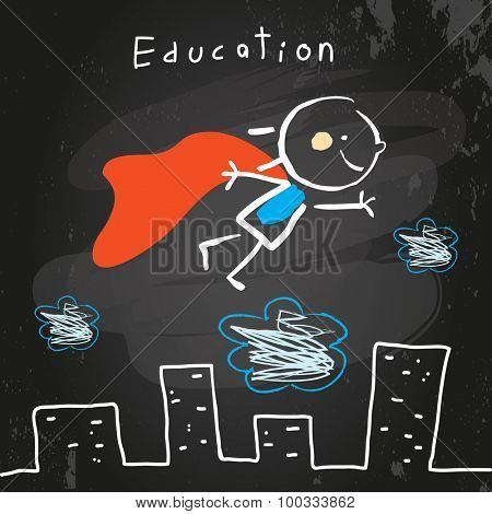 Successful Superhero kid flying, chalk on blackboard educational vector doodle style hand drawn illustration.