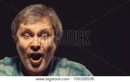 The screaming man in denim shirt