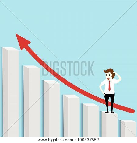 Businessman Standing On The Graph Below