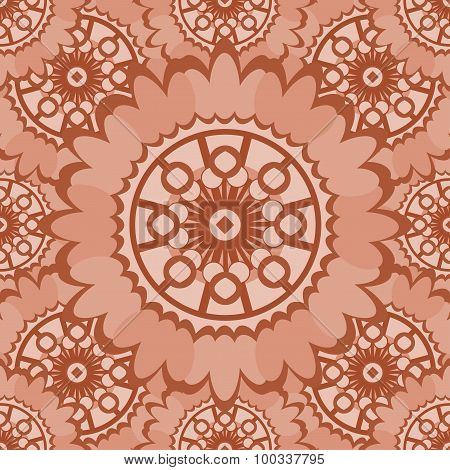 Pale Abstract Seamless Pattern With Round Ornamental Elements. Vector Soft Pink Background.