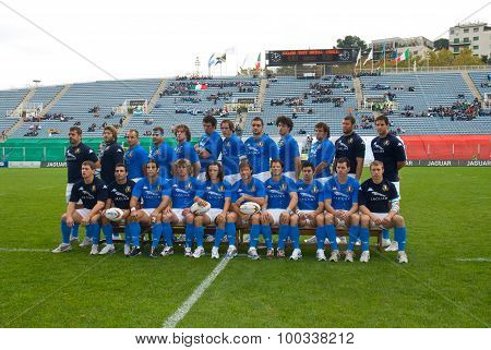 Rome, Italy - November 18 2006. Rugby Test Match Italy-argentina. Italy Team Official Photo On Playg